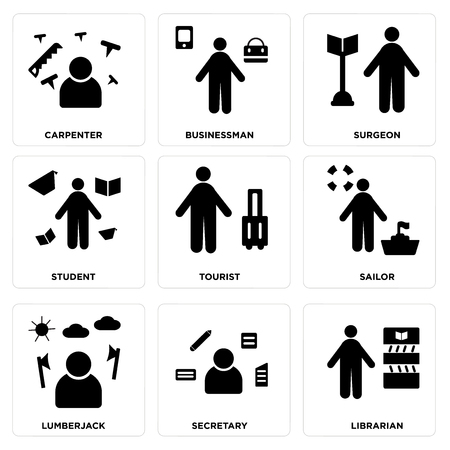 Set of 9 simple editable icons such as librarian, secretary, lumberjack, sailor, tourist, student, surgeon, businessman, carpenter, can be used for mobile, web.