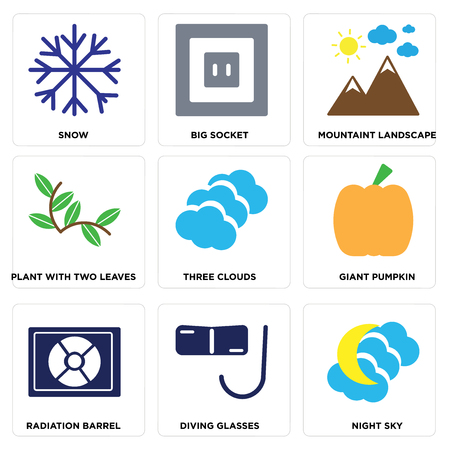 Set of 9 simple editable icons such as night sky, diving glasses, radiation barrel, giant pumpkin, three clouds, plant with two leaves, mountain landscape, big socket, snow, can be used for mobile.