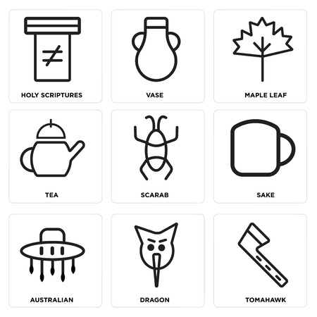 Set Of 9 simple editable icons such as Tomahawk, Dragon, Australian, Sake, Scarab, Tea, Maple leaf, Vase, Holy scriptures, can be used for mobile, web