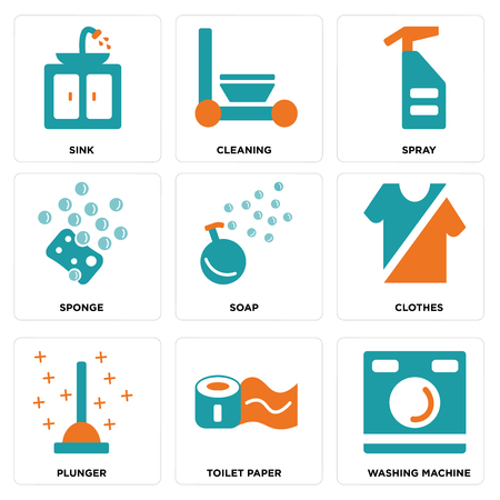 Set Of 9 simple editable icons such as Washing machine, Toilet paper, Plunger, Clothes, Soap, Sponge, Spray, Cleaning, Sink, can be used for mobile, web Vektoros illusztráció