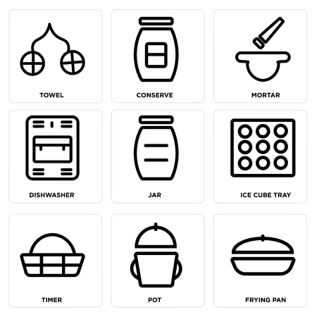 Set Of 9 simple editable icons such as Frying pan, Pot, Timer, Ice cube tray, Jar, Dishwasher, Mortar, Conserve, Towel, can be used for mobile, web Illustration