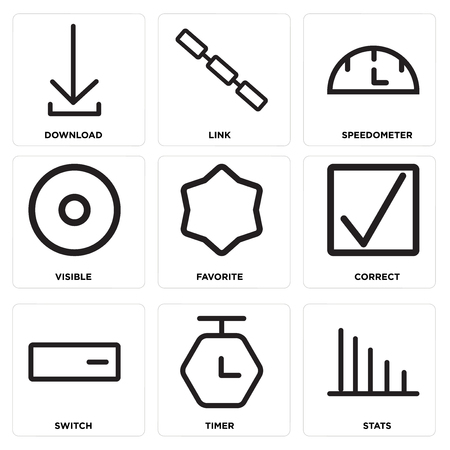 Set Of 9 simple editable icons such as Stats, Timer, Switch, Correct, Favorite, Visible, Speedometer, Link, Download, can be used for mobile, web