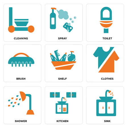 Set Of 9 simple editable icons such as Sink, Kitchen, Shower, Clothes, Shelf, Brush, Toilet, Spray, Cleaning, can be used for mobile, web Illustration