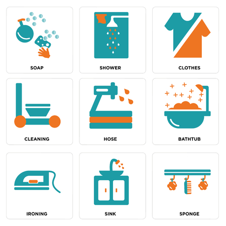 Set Of 9 simple editable icons such as Sponge, Sink, Ironing, Bathtub, Hose, Cleaning, Clothes, Shower, Soap, can be used for mobile, web