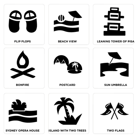 Set Of 9 simple editable icons such as Two Flags, Island with Trees, Sydney opera house, Sun umbrella, Postcard, Bonfire, Leaning tower of pisa, Beach View, Flip flops, can be used for mobile, web