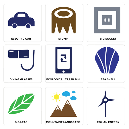 Set Of 9 simple editable icons such as Eolian Energy, Mountaint Landscape, Big Leaf, Sea Shell, Ecological Trash Bin, Diving Glasses, Socket, Stump, Electric Car, can be used for mobile, web Illustration