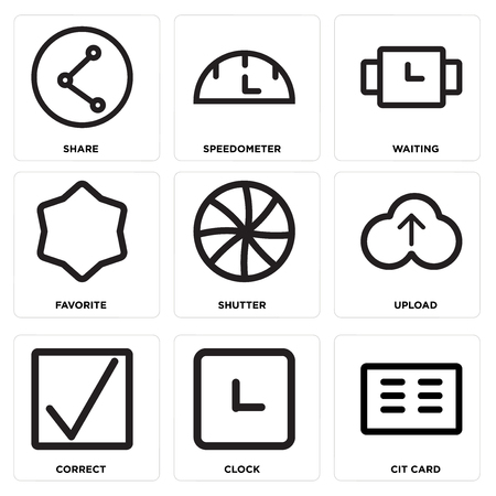 Set Of simple editable icons such as Cit card, Clock, Correct, Upload, Shutter, Favorite, Waiting, Speedometer, Share, can be used for mobile, web.