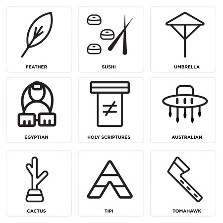 Set Of simple editable icons such as Tomahawk, Tipi, Cactus, Australian, Holy scriptures, Egyptian, Umbrella, Sushi and Feather.  イラスト・ベクター素材