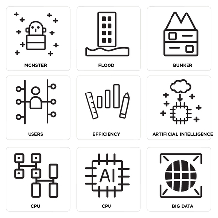 Set Of simple editable icons such as Big data, Cpu, Artificial intelligence, Efficiency, Users, Bunker, Flood, Monster, can be used for mobile, web.