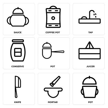 Set Of simple editable icons such as Pot, Mortar, Knife, Juicer, Conserve, Tap, Coffee pot, Sauce, can be used for mobile, web. Illusztráció