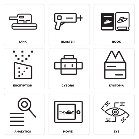 Set Of simple editable icons such as Eye, Movie, Analytics, Dystopia, Cyborg, Encryption, Book, Blaster, Tank, can be used for mobile, web.