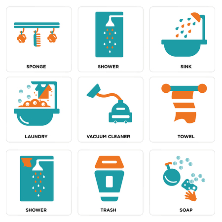 Set Of simple editable icons such as Soap, Trash, Shower, Towel, Vacuum cleaner, Laundry, Sink, Sponge, can be used for mobile, web.