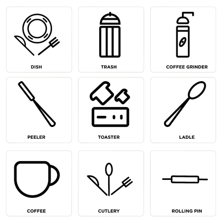 Set Of simple editable icons such as Rolling pin, Cutlery, Coffee, Ladle, Toaster, Peeler, Coffee grinder, Trash, Dish, can be used for mobile, web. Illustration