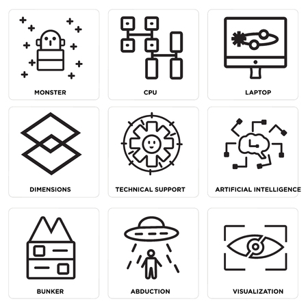 Set Of simple editable icons such as Visualization, Abduction, Bunker, Artificial intelligence, Technical Support, Dimensions, Laptop, Cpu, Monster, can be used for mobile, web.