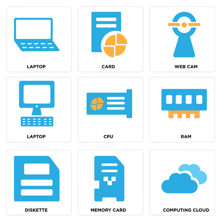 Set Of simple editable icons such as Computing cloud, Memory card, Diskette, Ram, Cpu, Laptop, Web cam, Card, can be used for mobile, web.