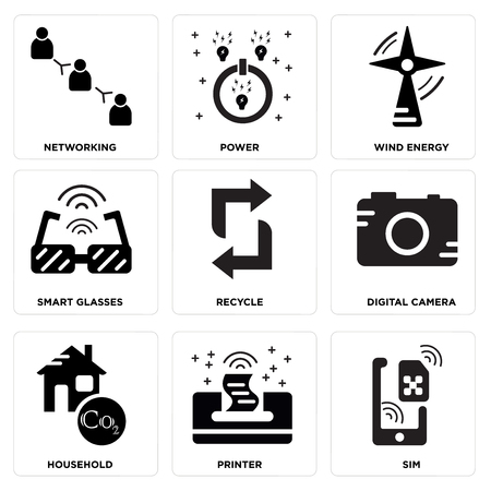 Set Of simple editable icons such as Sim, Printer, Household, Digital camera, Recycle, Smart glasses, Wind energy, Power, Networking, can be used for mobile, web.