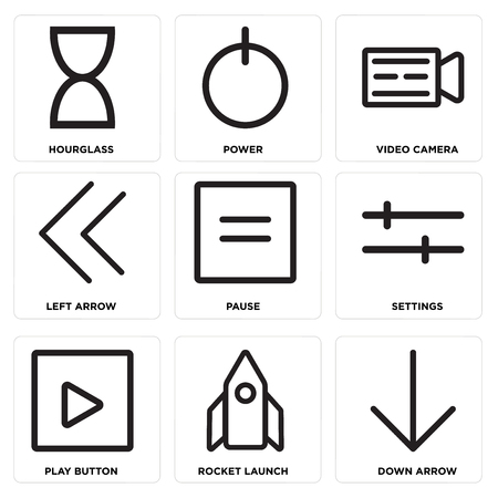 Set Of simple editable icons such as Down arrow, Rocket launch, Play button, Settings, Pause, Left Video camera, Power, Hourglass, can be used for mobile, web.