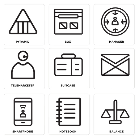 Set Of simple editable icons such as Balance, Notebook, Smartphone, Suitcase, Telemarketer, Manager, Box, Pyramid, can be used for mobile, web.