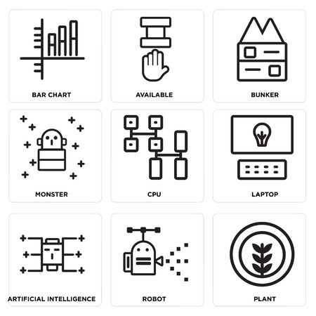 Set Of simple editable icons such as Plant, Robot, Artificial intelligence, Laptop, Cpu, Monster, Bunker, Available, Bar chart, can be used for mobile, web. Иллюстрация