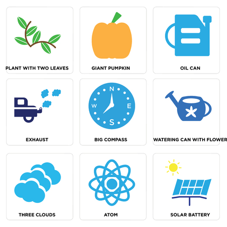 Set Of simple editable icons such as Solar Battery, Atom, Three Clouds, Watering Can with Flower, Big Compass, Exhaust, Oil Can, Giant Pumpkin, Plant Two Leaves, can be used for mobile, web.