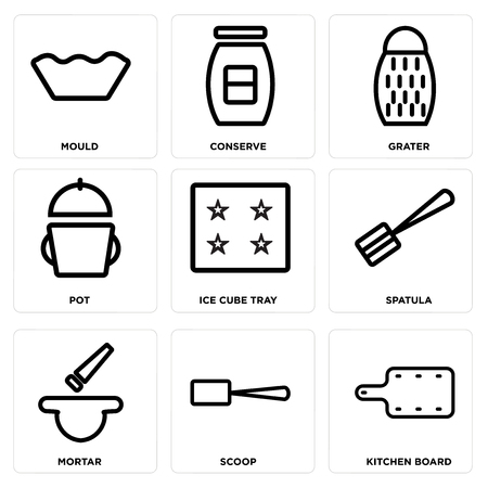 Set Of simple editable icons such as Kitchen board, Scoop, Mortar, Spatula, Ice cube tray, Pot, Grater, Conserve, Mould, can be used for mobile, web.