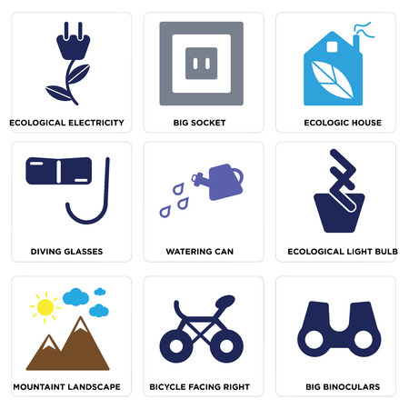 Set Of simple editable icons such as Big Binoculars, Bicycle Facing Right, Mountaint Landscape, Ecological Light Bulb, Watering Can, Diving Glasses, Ecologic House, Socket and Electricity.