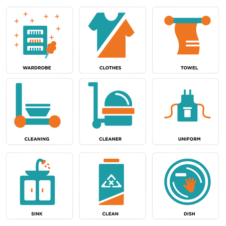 Set Of simple editable icons such as Dish, Clean, Sink, Uniform, Cleaner, Cleaning, Towel, Clothes, Wardrobe, can be used for mobile, web.
