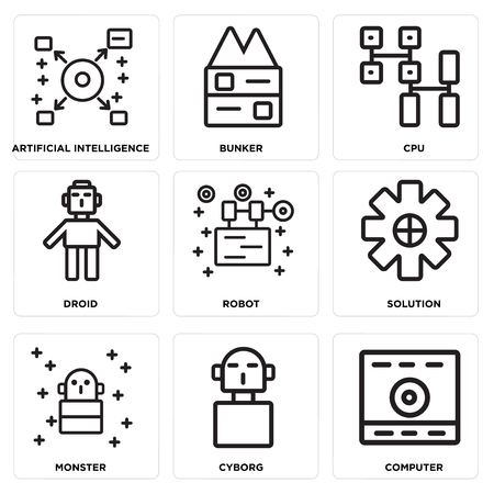 Set Of simple editable icons such as Computer, Cyborg, Monster, Solution, Robot, Droid, Cpu, Bunker, Artificial intelligence, can be used for mobile, web. Иллюстрация