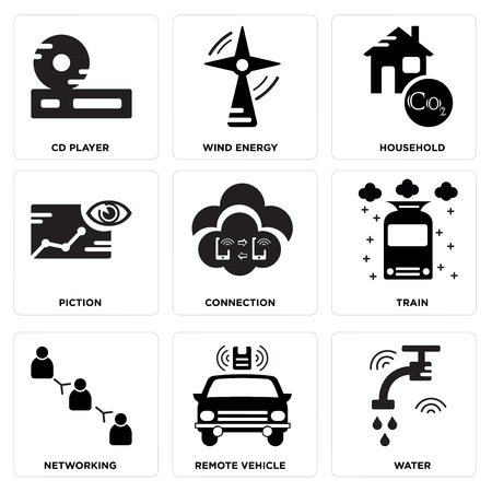 Set Of simple editable icons such as Water, Remote vehicle, Networking, Train, Connection, Piction, Household, Wind energy, Cd player, can be used for mobile, web.