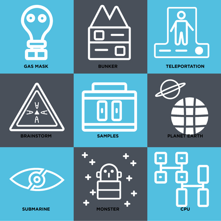 Set Of simple editable icons such as Cpu, Monster, Submarine, Planet earth, Samples, Brainstorm, Teleportation, Bunker, Gas mask, can be used for mobile, web.