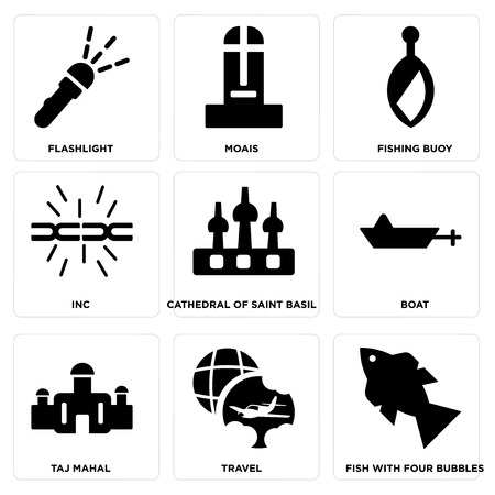 Set Of simple editable icons such as Fish with Four bubbles, Travel, Taj mahal, Boat, Cathedral of saint basil, Inc, Fishing Buoy, Moais, Flashlight, can be used for mobile, web. Illustration