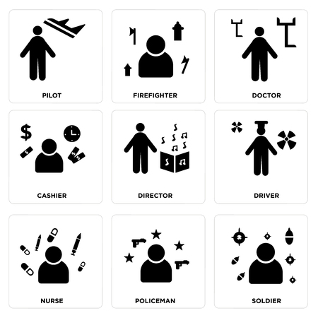 Set Of simple editable icons such as Soldier, Policeman, Nurse, Driver, Director, Cashier, Doctor, Firefighter, Pilot, can be used for mobile, web.