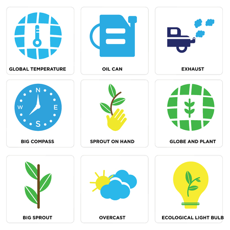 Set Of simple editable icons such as Ecological Light Bulb, Overcast, Big Sprout, Globe and Plant, Sprout On Hand, Compass, Exhaust, Oil Can, Global Temperature, can be used for mobile, web.