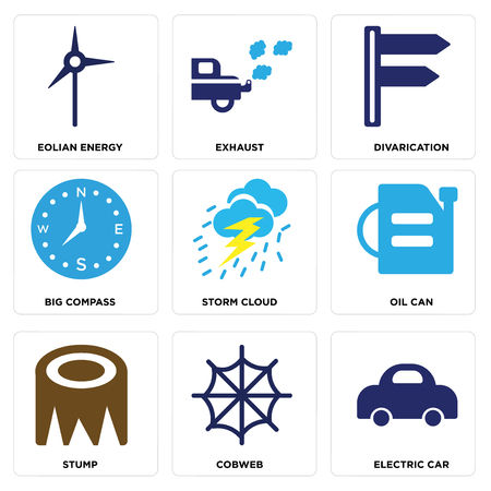 Set Of simple editable icons such as Electric Car, Cobweb, Stump, Oil Can, Storm Cloud, Big Compass, Divarication, Exhaust, Eolian Energy, can be used for mobile, web.