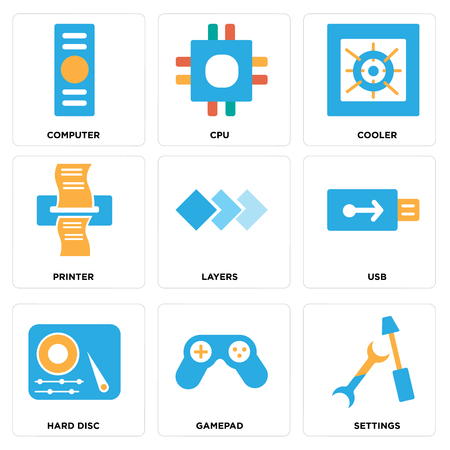 Set Of simple editable icons such as Settings, Gamepad, Hard disc, Usb, Layers, Printer, Cooler, Cpu, Computer, can be used for mobile, web.