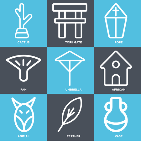 Set Of simple editable icons such as Vase, Feather, Animal, African, Umbrella, Fan, Pope, Torii gate, Cactus, can be used for mobile, web Ilustração