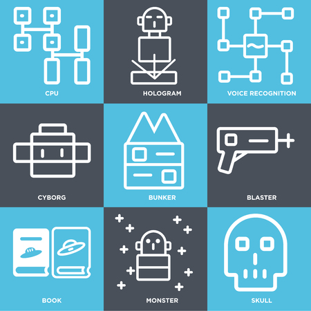 Set Of simple editable icons such as Skull, Monster, Book, Blaster, Bunker, Cyborg, Voice recognition, Hologram, CPU, can be used for mobile, web.