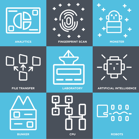 Set Of 9 simple editable icons such as Robots, Cpu, Bunker, Artificial intelligence, Laboratory, File transfer, Monster, Fingerprint scan, Analytics, can be used for mobile, web