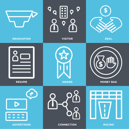 Set Of 9 simple editable icons such as Racing, Connection, Advertising, Money bag, Award, Resume, Deal, Visitor, Graduation, can be used for mobile, web
