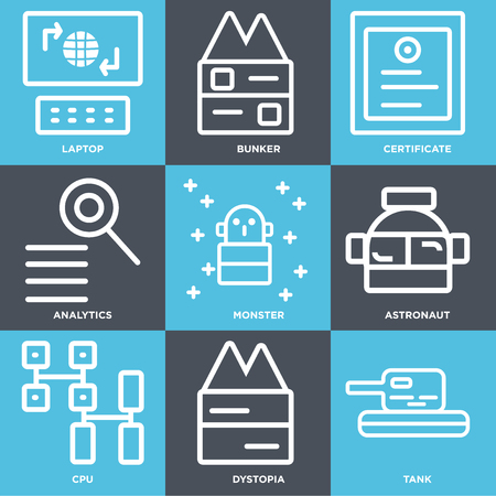 Set Of 9 simple editable icons such as Tank, Dystopia, Cpu, Astronaut, Monster, Analytics, Certificate, Bunker, Laptop, can be used for mobile, web