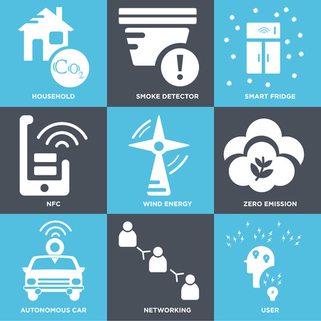 Set Of 9 simple editable icons such as User, Networking, Autonomous car, Zero emission, Wind energy, Nfc, Smart fridge, Smoke detector, Household, can be used for mobile, web Vectores