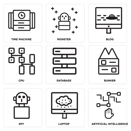 Set Of 9 simple editable icons such as Artificial intelligence, Laptop, Spy, Bunker, Database, Cpu, Blog, Monster, Time machine, can be used for mobile, web