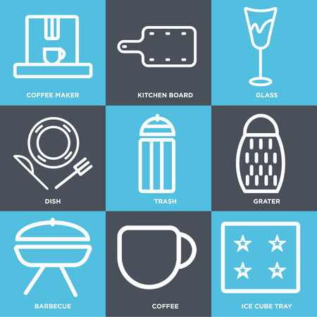 Set Of 9 simple editable icons such as Ice cube tray, Coffee, Barbecue, Grater, Trash, Dish, Glass, Kitchen board, Coffee maker. Can be used for mobile, web. Illustration