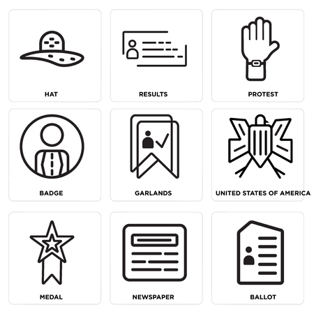 Set Of 9 simple editable icons such as Ballot, Newspaper, Medal, United states of america, Garlands, Badge, Protest, Results, Hat, can be used for mobile, web