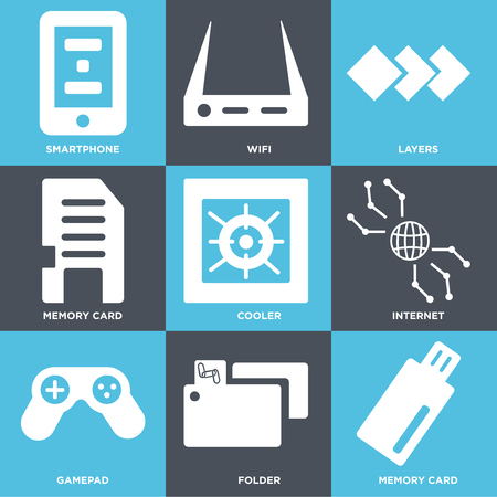 Set Of 9 simple editable icons such as Memory card, Folder, Game pad, Internet, Cooler, Layers, Wifi, Smartphone. Can be used for mobile, web.