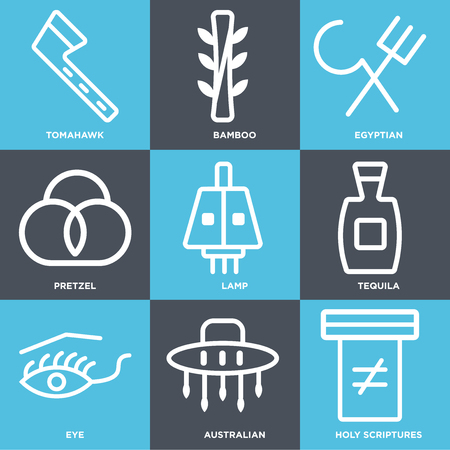 Set Of 9 simple editable icons such as Holy scriptures, Australian, Eye, Tequila, Lamp, Pretzel, Egyptian, Bamboo, Tomahawk. Can be used for mobile, web.  イラスト・ベクター素材