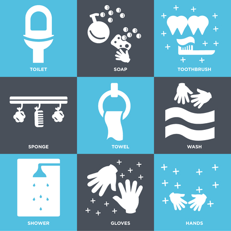 Set Of 9 simple editable icons such as Hands, Gloves, Shower, Wash, Towel, Sponge, Toothbrush, Soap, Toilet, can be used for mobile, web