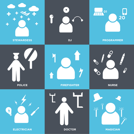 Set Of 9 simple editable icons such as Magician, Doctor, Electrician, Nurse, Firefighter, Police, Programmer, DJ, Stewardess. Can be used for mobile, web.