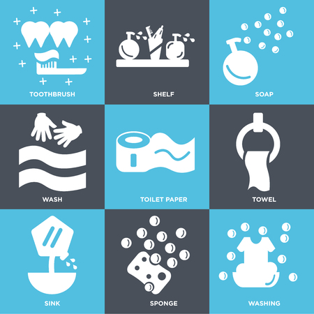 Set Of 9 simple editable icons such as Washing, Sponge, Sink, Towel, Toilet paper, Wash, Soap, Shelf, Toothbrush. Can be used for mobile, web.