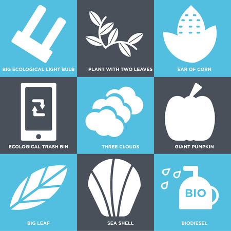 Set Of 9 simple editable icons such as Biodiesel, Sea Shell, Big Leaf, Giant Pumpkin, Three Clouds, Ecological Trash Bin, Ear of Corn, Plant with Two Leaves, Light Bulb, can be used for mobile, web 일러스트